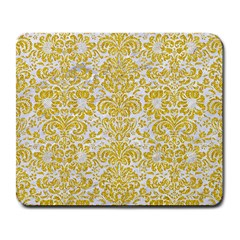 Damask2 White Marble & Yellow Denim (r) Large Mousepads by trendistuff