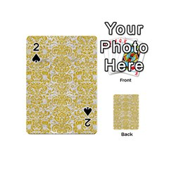 Damask2 White Marble & Yellow Denim (r) Playing Cards 54 (mini)  by trendistuff