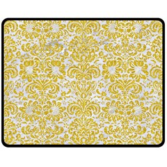 Damask2 White Marble & Yellow Denim (r) Double Sided Fleece Blanket (medium)  by trendistuff