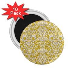 Damask2 White Marble & Yellow Denimhite Marble & Yellow Denim 2 25  Magnets (10 Pack)  by trendistuff