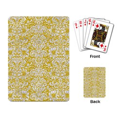 Damask2 White Marble & Yellow Denimhite Marble & Yellow Denim Playing Card by trendistuff