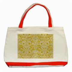 Damask2 White Marble & Yellow Denimhite Marble & Yellow Denim Classic Tote Bag (red) by trendistuff