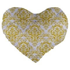 Damask1 White Marble & Yellow Denim (r) Large 19  Premium Flano Heart Shape Cushions by trendistuff