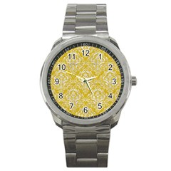 Damask1 White Marble & Yellow Denim Sport Metal Watch by trendistuff