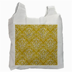 Damask1 White Marble & Yellow Denim Recycle Bag (one Side) by trendistuff