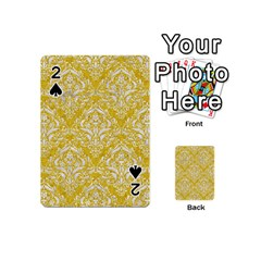 Damask1 White Marble & Yellow Denim Playing Cards 54 (mini)  by trendistuff