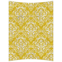 Damask1 White Marble & Yellow Denim Back Support Cushion by trendistuff