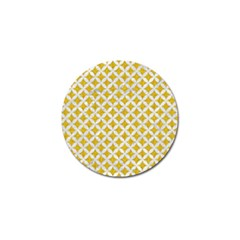 Circles3 White Marble & Yellow Denim Golf Ball Marker by trendistuff