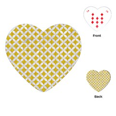 Circles3 White Marble & Yellow Denim Playing Cards (heart)