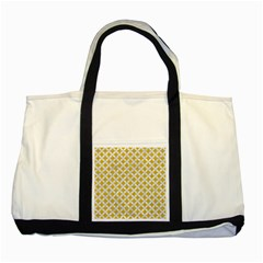 Circles3 White Marble & Yellow Denim Two Tone Tote Bag by trendistuff