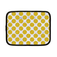 Circles2 White Marble & Yellow Denim (r) Netbook Case (small)  by trendistuff