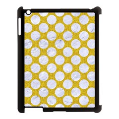 Circles2 White Marble & Yellow Denim Apple Ipad 3/4 Case (black) by trendistuff