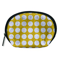 Circles1 White Marble & Yellow Denimcircles1 White Marble & Yellow Denim Accessory Pouches (medium)  by trendistuff