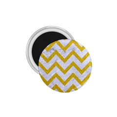 Chevron9 White Marble & Yellow Denim (r) 1 75  Magnets by trendistuff