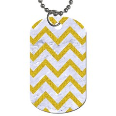 Chevron9 White Marble & Yellow Denim (r) Dog Tag (two Sides) by trendistuff