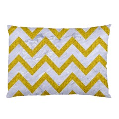 Chevron9 White Marble & Yellow Denim (r) Pillow Case (two Sides) by trendistuff