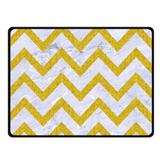 Chevron9 White Marble & Yellow Denim (r) Double Sided Fleece Blanket (small)  by trendistuff