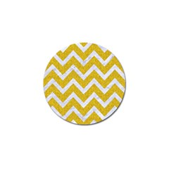 Chevron9 White Marble & Yellow Denim Golf Ball Marker by trendistuff