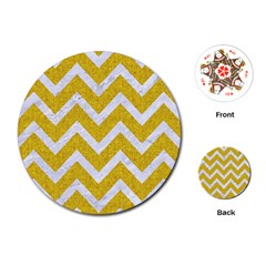 Chevron9 White Marble & Yellow Denim Playing Cards (round)  by trendistuff