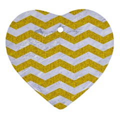 Chevron3 White Marble & Yellow Denim Heart Ornament (two Sides) by trendistuff