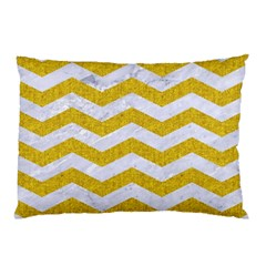 Chevron3 White Marble & Yellow Denim Pillow Case by trendistuff