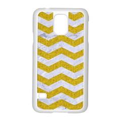Chevron3 White Marble & Yellow Denim Samsung Galaxy S5 Case (white) by trendistuff