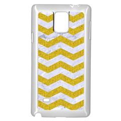 Chevron3 White Marble & Yellow Denim Samsung Galaxy Note 4 Case (white) by trendistuff