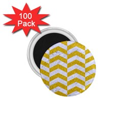 Chevron2 White Marble & Yellow Denim 1 75  Magnets (100 Pack)  by trendistuff