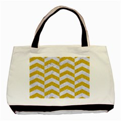 Chevron2 White Marble & Yellow Denim Basic Tote Bag (two Sides) by trendistuff