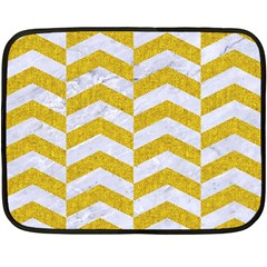 Chevron2 White Marble & Yellow Denim Fleece Blanket (mini) by trendistuff