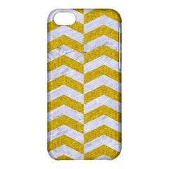 Chevron2 White Marble & Yellow Denim Apple Iphone 5c Hardshell Case by trendistuff