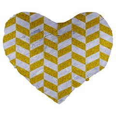 Chevron1 White Marble & Yellow Denim Large 19  Premium Flano Heart Shape Cushions by trendistuff