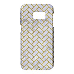 Brick2 White Marble & Yellow Denim (r) Samsung Galaxy S7 Hardshell Case