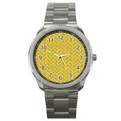 Brick2 White Marble & Yellow Denim Sport Metal Watch by trendistuff