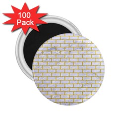 Brick1 White Marble & Yellow Denim (r) 2 25  Magnets (100 Pack)  by trendistuff