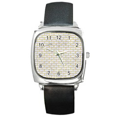 Brick1 White Marble & Yellow Denim (r) Square Metal Watch by trendistuff