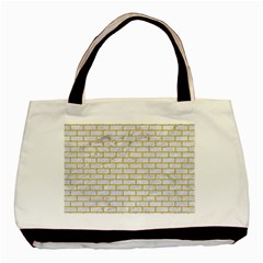 Brick1 White Marble & Yellow Denim (r) Basic Tote Bag (two Sides) by trendistuff
