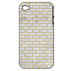 Brick1 White Marble & Yellow Denim (r) Apple Iphone 4/4s Hardshell Case (pc+silicone) by trendistuff