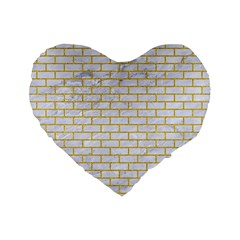 Brick1 White Marble & Yellow Denim (r) Standard 16  Premium Flano Heart Shape Cushions by trendistuff