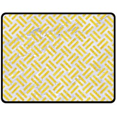 Woven2 White Marble & Yellow Colored Pencil (r) Fleece Blanket (medium)  by trendistuff