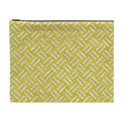 Woven2 White Marble & Yellow Colored Pencil Cosmetic Bag (xl) by trendistuff