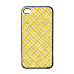 Woven2 White Marble & Yellow Colored Pencil Apple Iphone 4 Case (black) by trendistuff