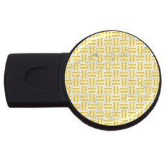 Woven1 White Marble & Yellow Colored Pencil (r) Usb Flash Drive Round (4 Gb) by trendistuff
