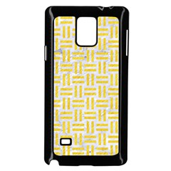Woven1 White Marble & Yellow Colored Pencil (r) Samsung Galaxy Note 4 Case (black) by trendistuff