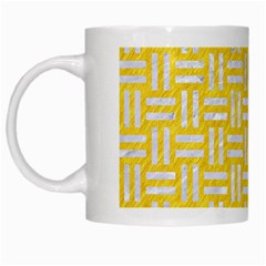 Woven1 White Marble & Yellow Colored Pencil White Mugs by trendistuff