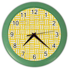 Woven1 White Marble & Yellow Colored Pencil Color Wall Clocks by trendistuff
