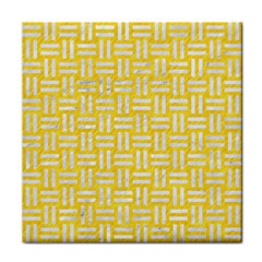 Woven1 White Marble & Yellow Colored Pencil Face Towel by trendistuff