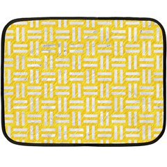 Woven1 White Marble & Yellow Colored Pencil Fleece Blanket (mini) by trendistuff