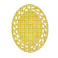 Woven1 White Marble & Yellow Colored Pencil Oval Filigree Ornament (two Sides) by trendistuff