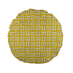 Woven1 White Marble & Yellow Colored Pencil Standard 15  Premium Round Cushions by trendistuff
